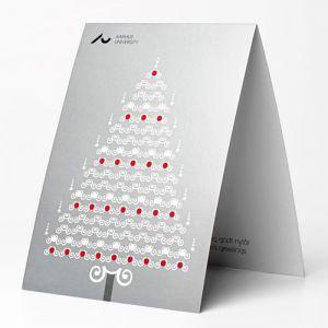 Julekort, A5 sølv juletræ UK
